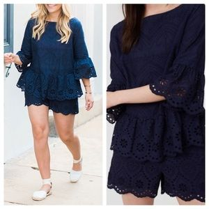 LOFT Navy Eyelet Short Set